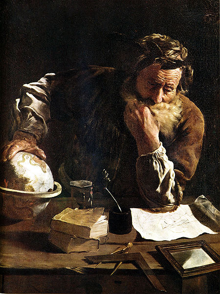 A picture of Archimedes working at his desk (wikipedia)