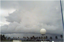 A photograph of weather and clouds during the Kwajalein Experiment in the Marshall Islands, August 1999. (Image courtesy of the University of Washington)