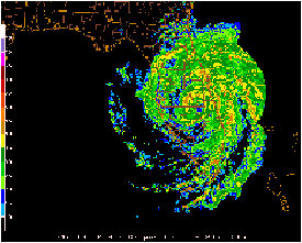 A composite reflectivity image of Hurricane Frances on September 5, 2004 using Florida's NEXRAD radar network. Higher reflectivity indicates higher rainrates. (Image courtesy of Gerry Creager, Texas A&M University)