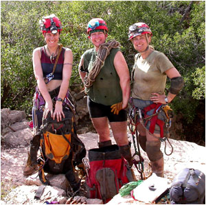 (L to R) Hazel Barton, Pat Seiser and Tama Cassidy following a week-long expedition in Lechuguilla Cave, New Mexico.