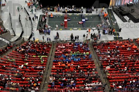 A bird's eye view of the 19th FIRST Robotics Cham (AP Photo/Rich Addicks)