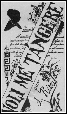This is the original cover of one of Rizal's book (http://1.bp.blogspot.com/_nxUb2kYKSvI/Sjrvt1iBGeI/AAAAAAAASMc/fC220aElIaA/s400/Noli+book+original.jpg)