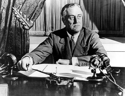 Franklin D. Roosevelt at his Presidential desk