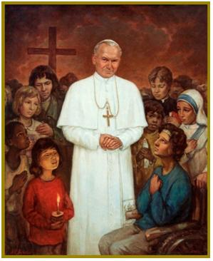 Pope John Paul II is surrounded by a crowd. (http://babailov.homestead.com/)