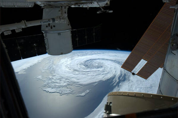 Storm brewing over North Pacific from Space (Canadian Space Agency (Commander Chris Hadfield))