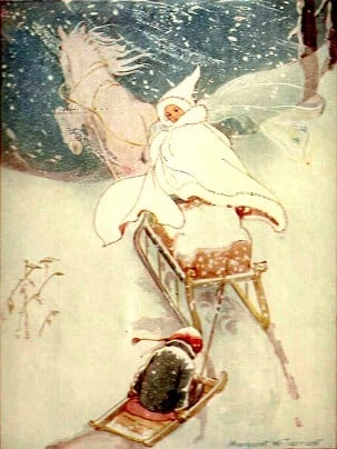 The Snow Queen taking Kai (Illustration by Margaret Tarrant)