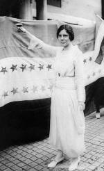 Alice Paul toasting the 19th Amendment, 1920 (http://www.alicepaul.org/alicep3.htm)