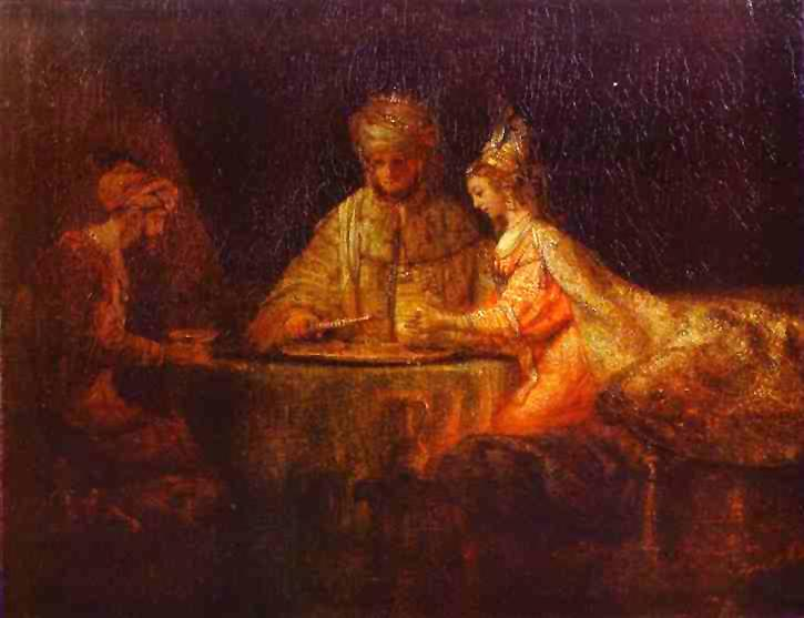 Esther's Banquet for King Xerxes l and Haman (Wikipedia)