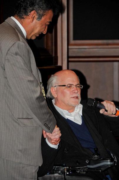 Ron Kovic presenting Azim the Kovic Peace Prize at the MY HERO International Film Festival. (MY HERO)