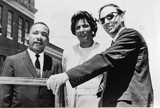 Atlanta: Rev. Martin Luther King (L), and attorneys Mrs. Constance Motley and William Kunstle