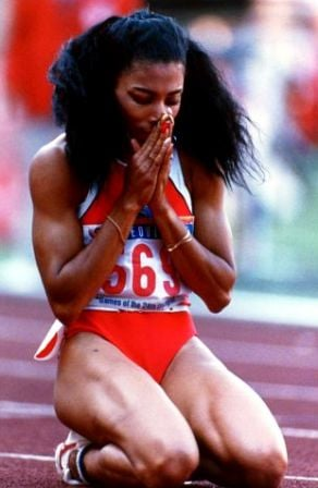 Florence Joyner after winning the 100 meter race