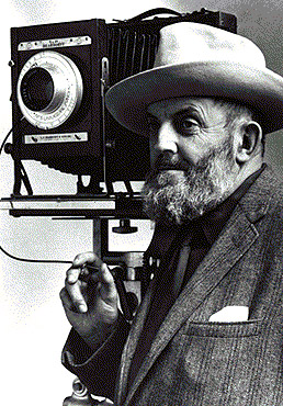 Ansel Adams with his camera (