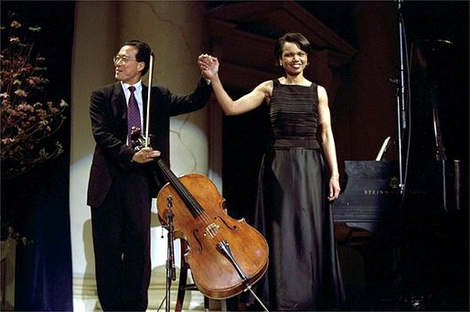 Rice playing piano with acclaimed cellist Yo-Yo Ma (http://upload.wikimedia.org/wikipedia/commons/f/f9/Yoyoma_rice.jpg)