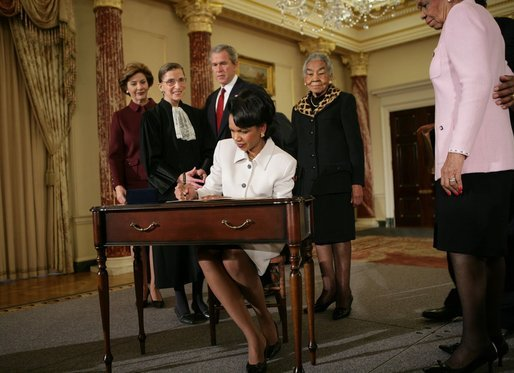 Rice signs official papers (http://en.wikipedia.org/wiki/Condoleezza_Rice)