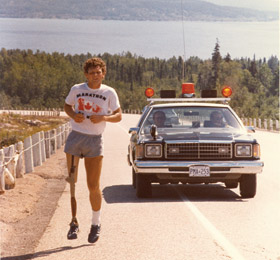 Terry Fox on his run through Canada in 1980. (http://magazine.fourseasons.com/articles/global/interest/news_offers/terry_fox_and_his_legacy/: Photography Ed Linkewich)