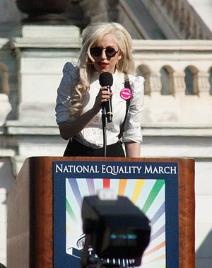 Lady Gaga giving a speech at the National Eqality (http://en.wikipedia.org/wiki/Portal:Lady_Gaga/Selected_picture/2)