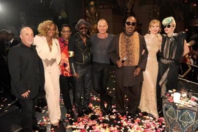 (left to right:) Billy Joel, Mary J Blige, Herbie Hancock, Will I.Am., Sting, Stevie Wonder, Trudie Styler and Lady Gaga. (https://www.steviewonder.org.uk/news/news.html)