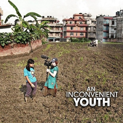Alina Pokhrel and Slater filming AIY in Kathmandu (www.aninconvenientyouth.com (Wendy Jewell))