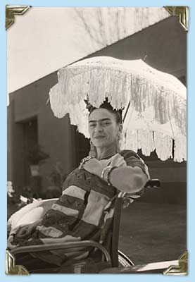 Frida in a wheelchair later in life (http://www.pbs.org/weta/fridakahlo/life/gallery_frida_21.html (Photographer Florence Arquin))