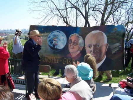 90 year old John McConnell, viewing MY HERO's mural in his honor