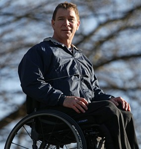 Hansen outside of his foundation headquarters. (http://www.2space.net/news/article/333837-1296566408/canada%26%238217%3Bs-%26%238217%3Bman-in-motion%26%238217%3B-rick-hansen-poses-for-a-photograph.html (The Canadian Press/Darryl Dyck))