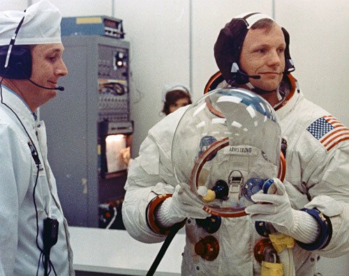 Armstrong getting ready for the launch (http://vintagraph.com/space-photos/apollo-11/5358230 ())