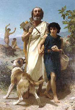 Homer being led by a young man. (en.wikipedida.org/wiki/homer)