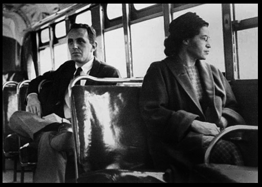 Rosa Parks sits on the bus (Google (www.colorlines.com))