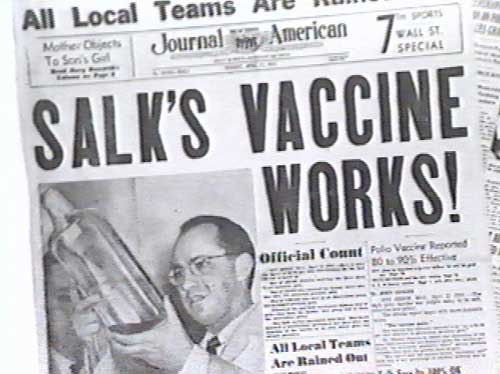 <center><b> Newspaper Depicting Jonas Salk (http://novasci.org/)