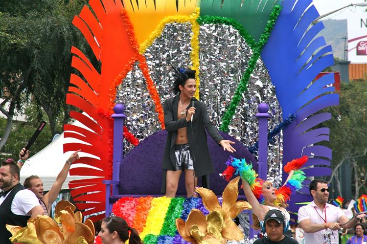 Johnny Weir participating in the Gay Pride Parade (Jason In Hollywood (Gay Pride Parade))