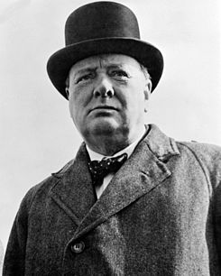 Churchill in his famous Top Hat  (http://en.wikipedia.org/wiki/Winston_Churchill ())
