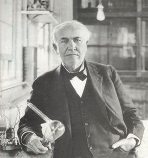 Edison with his light bulb (http://www.nndb.com/people/333/000022267/ ())