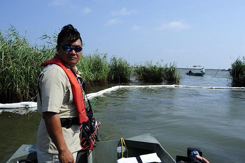 Clean-up member, Tha Hua searching for oil. (http://www.flickr.com/photos/deepwaterhorizonresponse/4967817137/in/photostream (Deepwater Horizon Response))