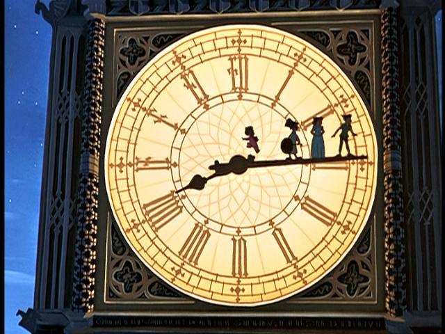 Peter Pan and friends on Big Ben (http://www.animatedheroes.com/peterpan.html ())