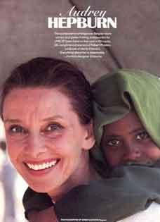 Audrey giving a child a piggy-back ride. (roger-moore.com (UNICEF photographer))