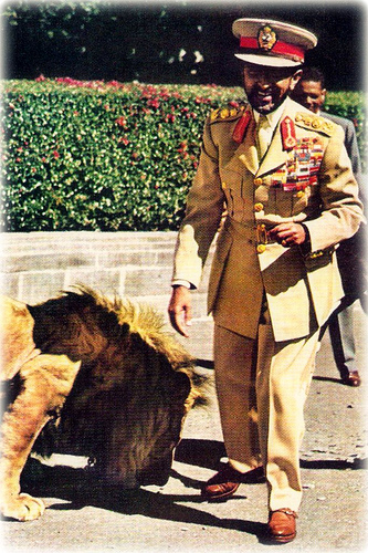 Haile Selassie, the Lion of Judah, and a lion representing Ethiopia's national animal