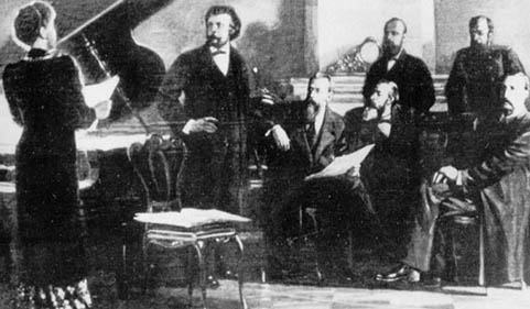 """The Mighty Five"" (l to r):  a  singer,  Moussorgsky, Korsakov, (Stasov), Balakirev,Cui,andBorodin"