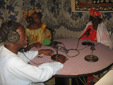 Leaders of the project at a local radio broadcast<br>(Courtesy of Cheikh Seck)