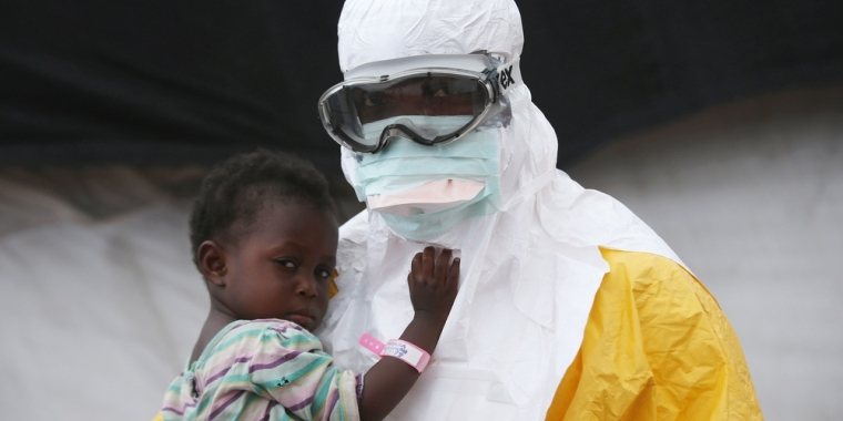 Doctor HelpingGirl From Ebola (http://www.doctorswithoutborders.org/our-work/medi (Doctors Without Borders Homepage))