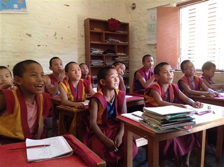 Student Buddhist monks enjoying class ( (Annie Merkley))