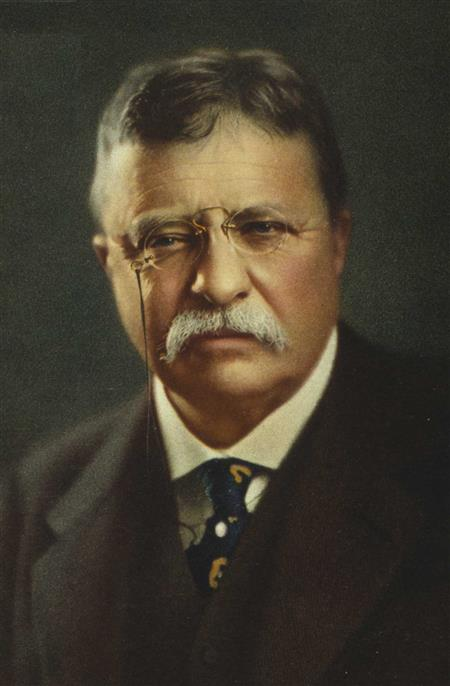 Theodore Roosevelt rarely smiles in pictures.
