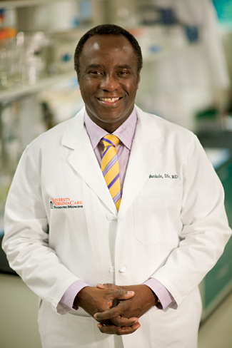 Bankole Johnson working at UMD. (http://uvamagazine.org/articles/targeting_addictio (Ed Crews))