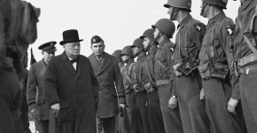 Winston Churchill inspecting American troops ( (AP))