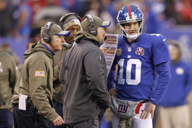 Tom Coughlin and Ben McAdoo telling plays to Eli (nydailynews.com (CHRIS SZAGOLA CSM LANDOV))