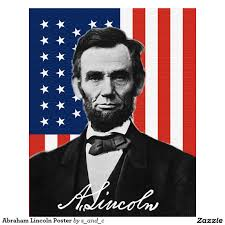 Abraham Lincoln in front of American flag ((en.wikipedia.org))