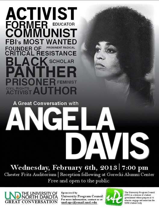 Flyer showing everything Angela Davis did.