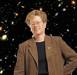 Sandra Faber, with the Hubble Deep Field. (http://news.ucsc.edu/2009/02/2739.html (Photo by R. R. Jones))