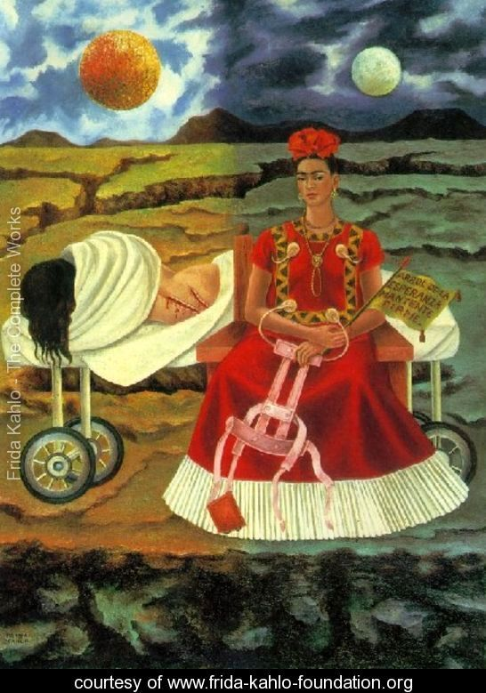 As seen here Frida is drawn near a body (http://www.frida-kahlo-foundation.org/Tree-Of-Hope (Frida Kahlo))