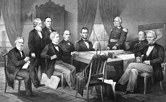 President Lincoln (Center) with his cabinet. (https://www.britannica.com/biography/Abraham-Lincol ())