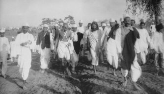 Gandhi leading the salt march (http://www.history.com/this-day-in-history/india-a ())